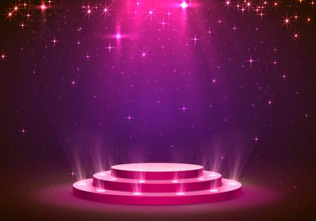 Illustration pour Show light podium stars background. Vector illustration - image libre de droit