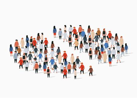 Ilustración de Population demographics report, pie chart composed of people. Separate group. Vector illustration - Imagen libre de derechos
