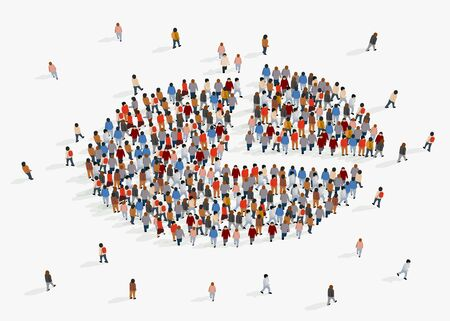 Ilustración de Population demographics report, pie chart composed of people. Vector illustration - Imagen libre de derechos