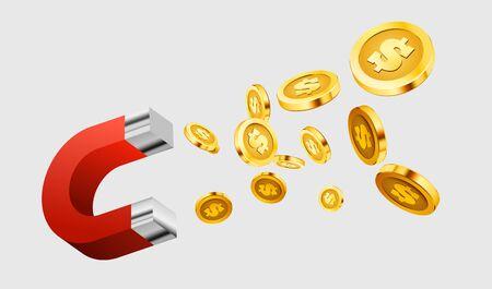 Illustrazione per Magnet attracts money. The concept of investing. Vector illustration - Immagini Royalty Free