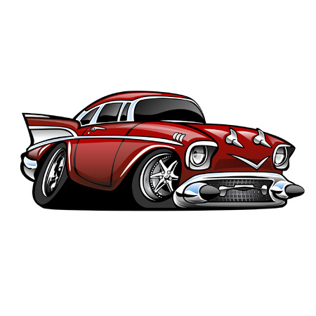 Ilustración de Classic American Muscle Car, red, cartoon illustration isolated on white background - Imagen libre de derechos