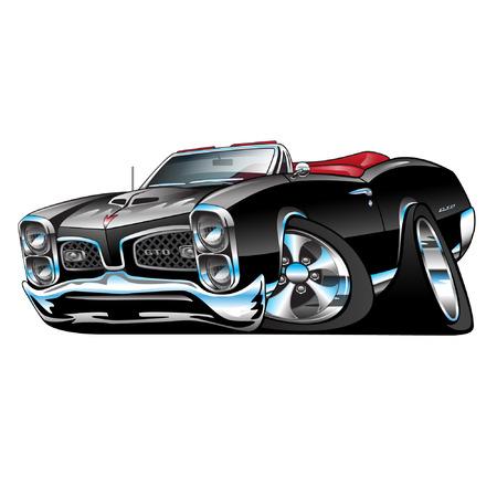 Ilustración de American Muscle Car, black convertible, cartoon illustration isolated on white background - Imagen libre de derechos