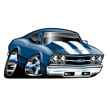Ilustración de American Muscle Car, blue, cartoon illustration isolated on white background - Imagen libre de derechos