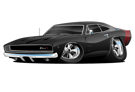 Illustration pour American Muscle Car, black, cartoon illustration isolated on white background - image libre de droit