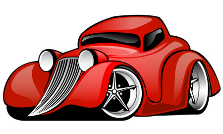 Ilustración de Red Hot Rod Custom Coupe cartoon illustration isolated on white background - Imagen libre de derechos