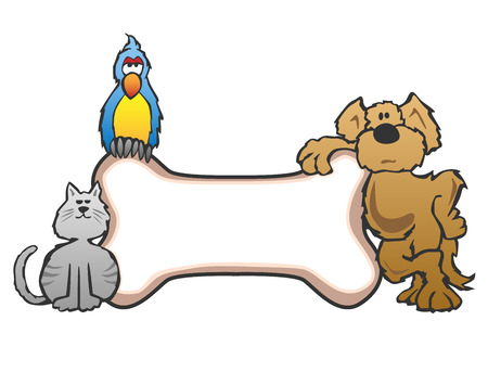 Dog Bird and Cat with Bone Pet Sign Logo