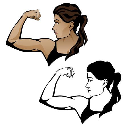 Illustration pour Female Fitness Woman Flexing Arm Illustration. - image libre de droit