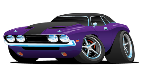 Illustration pour Classic Muscle Car Cartoon Illustration - image libre de droit