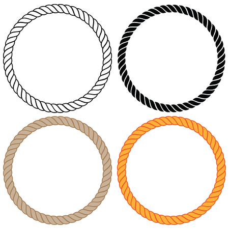 Illustration pour Braided twisted rope circles vector illustration. - image libre de droit