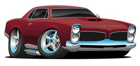 Illustration pour Classic American Muscle Car Cartoon Vector Illustration - image libre de droit