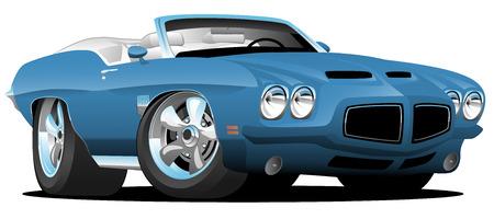 Illustration pour Classic Seventies Style American Convertible Muscle Car Cartoon Vector Illustration - image libre de droit