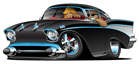 Ilustración de Classic hot rod fifties muscle car with a cool man and cute blonde woman cruising, low profile, big tires and rims, jet black paint, cartoon vector illustration - Imagen libre de derechos