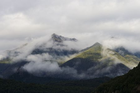 Mountain tops in fog