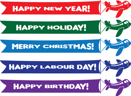 Vector illustration of aeroplanes with flying banners with different festive messages.