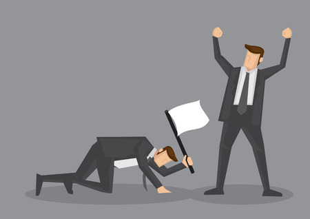 Illustration for Winner raised arm in victory gesture and loser crawling on floor with white flag to surrender. Vector illustration for business concept isolated on grey background. - Royalty Free Image