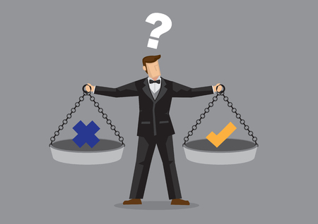 Illustration pour Cartoon man wearing full suit and bow tie balancing cross and tick symbol on two weighing trays on both arms. Creative vector illustration for ethical dilemma concept isolated on grey background. - image libre de droit