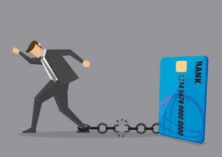 Illustration pour Businessman breaks free from the chain to bank credit card. Creative vector illustration for debt and financial freedom. - image libre de droit