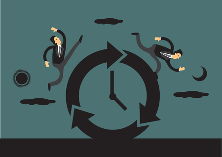 Illustration pour Businessmen racing against time around a clock with sun and moon in the background representing day and night. Creative vector illustration for business and time concept. - image libre de droit