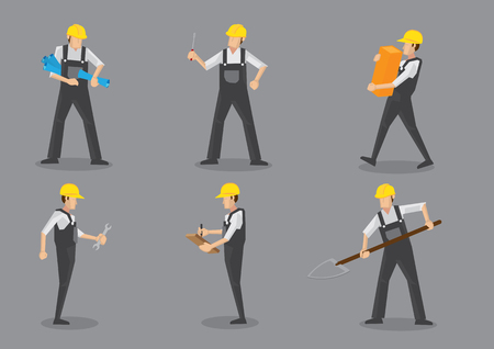 Illustration pour Construction worker wearing yellow helmet and overall work clothes working with different tools. Set of six vector character design isolated on grey background - image libre de droit