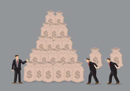 Illustration for Workers carrying bags of money on their back to build the wealth of rich businessman. Creative vector illustration on concept for using others to make money. - Royalty Free Image