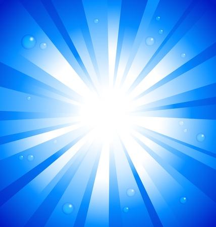 Ilustración de Sunburst on blue background with water drops - Imagen libre de derechos