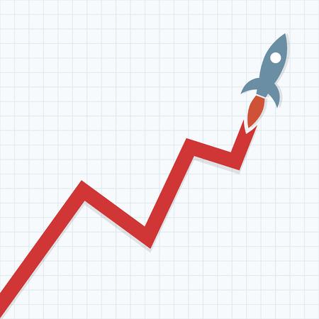 Ilustración de Profit Graph with Space rocket - Imagen libre de derechos