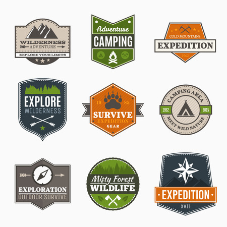 Illustration pour Retro Camp badges, exploration, expedition design template - image libre de droit
