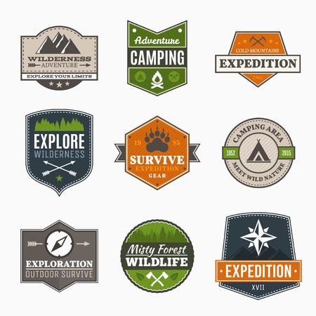 Ilustración de Retro Camp badges, exploration, expedition design template - Imagen libre de derechos