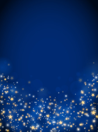 Illustration pour Christmas glittering stars, abstract background, blue color - image libre de droit