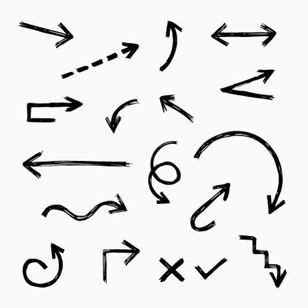 Illustration pour Hand drawn arrow set, vector illustration graphic - image libre de droit
