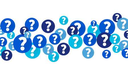 Illustration pour Question marks in blue circles, Flow of icons on white background - image libre de droit
