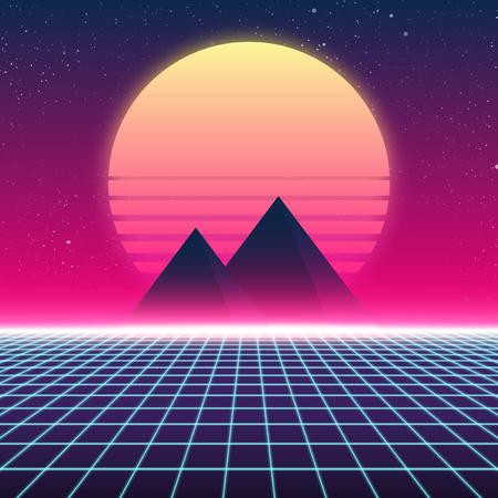 Illustration pour Synthwave retro design, Pyramids and sun, vector illustration - image libre de droit