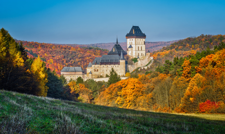 Photo for Karlstejn gothic castle near Prague, the most famous castle in Czech Republic, autumn season - Royalty Free Image