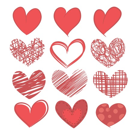 Ilustración de A set of painted hearts isolated on a white background  - Imagen libre de derechos