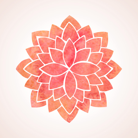Ilustración de Watercolor red lotus Flower pattern on white background - Imagen libre de derechos