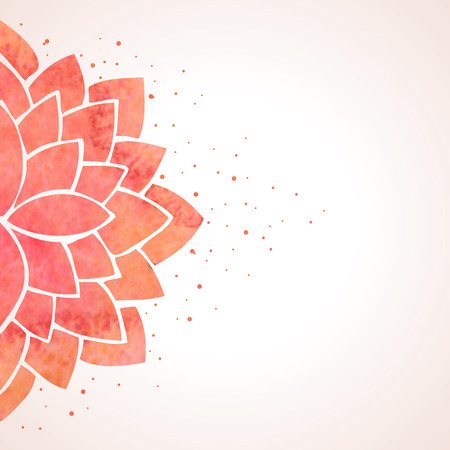 Illustration pour Illustration with watercolor red flower. Oriental background. Flower pattern on white background. Vector illustration - image libre de droit