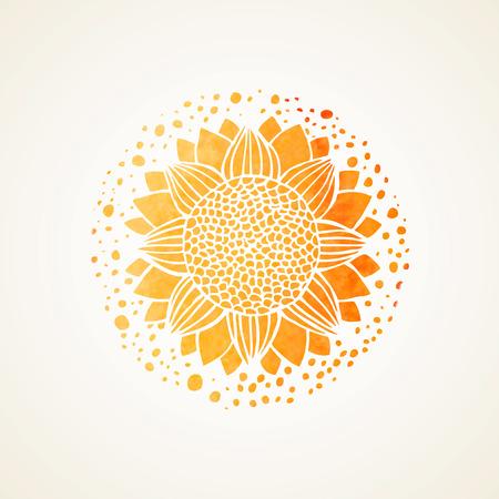 Ilustración de Watercolor sunny mandala. Stylized sunflower. Element for design. Lace yellow pattern on white background. Vector illustration - Imagen libre de derechos