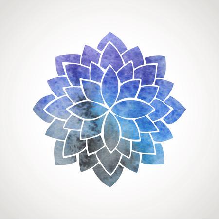 Illustration pour Watercolor lotus flower with space background. Symbol of meditation, Indian culture, oriental practices, yoga, universe. Vector decorative element. Logo template - image libre de droit