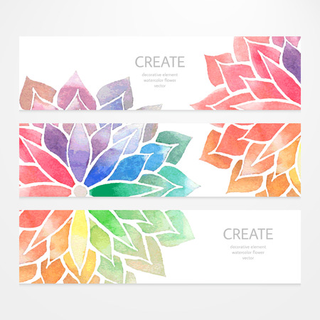 Illustration pour Colorful banners, flyers. Vector templates of design with watercolor rainbow flowers on white background. Art concept. Flower crop, but you can find it in my portfolio - image libre de droit