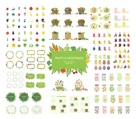 Collection of fruits, vegetables, and kitchen elements, icons isolated on white background.