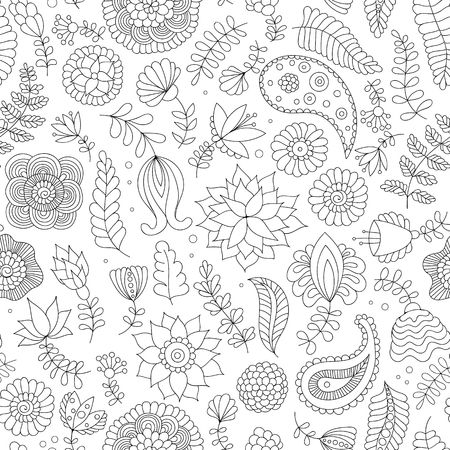 Ilustración de Seamless pattern with black and white doodle flowers on white background. Oriental Indian background in vector for wrapping paper, web wallpaper, fabric, textile and more - Imagen libre de derechos
