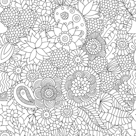 Illustration pour Doodle flower pattern black and white. - image libre de droit