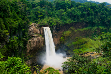 Photo for Panorama of main cascade of Ekom waterfall at Nkam river, Cameroon - Royalty Free Image