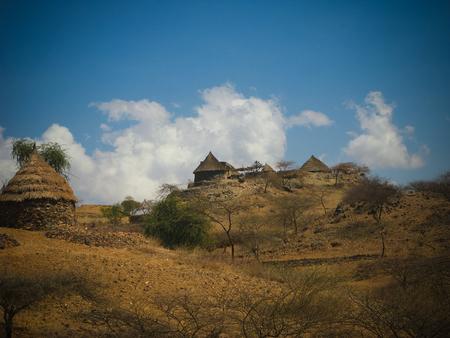 Photo pour View to Bilen aka Bogo or Agaw tribe village near Keren, Anseba region,Eritrea - image libre de droit