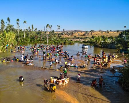 Foto de Mining of gems, gold and sapphires - 08 December 2018 Ilakaka Ihosy District, Ihorombe Region, Madagascar - Imagen libre de derechos