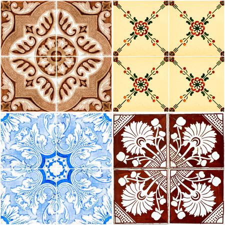 Foto de Colorful vintage ceramic tiles wall decoration. - Imagen libre de derechos