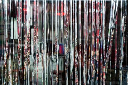 Foto de Metalic glitter Cabaret curtain, display backdrop in a stylish shop - Imagen libre de derechos