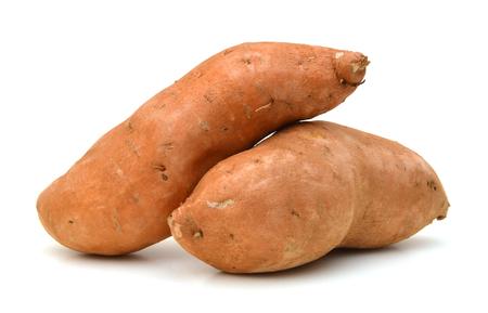 Photo for Raw, whole Sweet potatoes isolated on white background - Royalty Free Image