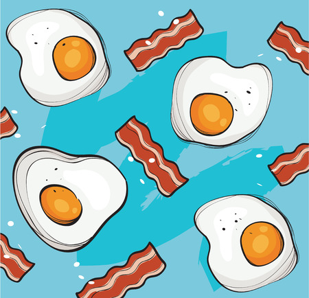 Illustration for Eggs and bacon background vector - Royalty Free Image