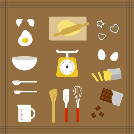 Illustration pour Collection of kitchen tools for sweets - image libre de droit